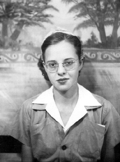 Gail McGhee in her Boeing work outfit during WWII