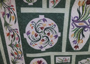Intricate quilt design at the Davenport Quilt Show.