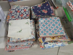 Quilt pieces from vintage feedsacks.