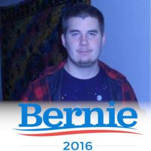 This is Kyle Pillsbury who is backpacking around to get the word out in small towns about Bernie Sanders' campaign.