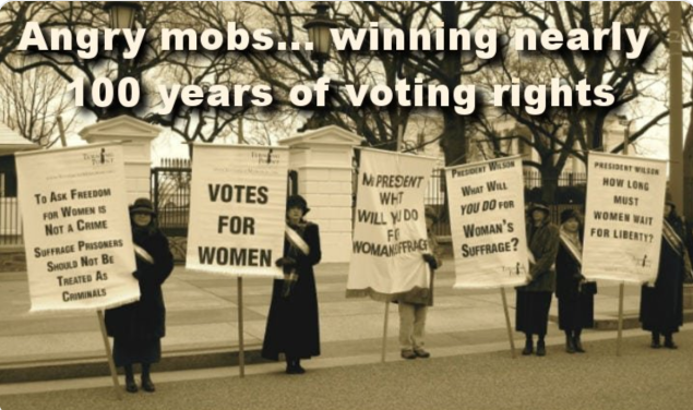 angry mobs women vote